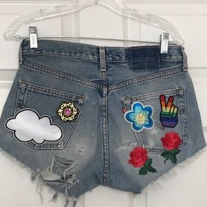Vintage Distressed Patchwork Levi Cutoffs